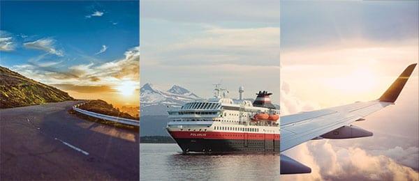 3 bilder slått sammen til 1. Første bilde av en vei, det andre av en båt, og det tredje av vingen til et fly i luften
